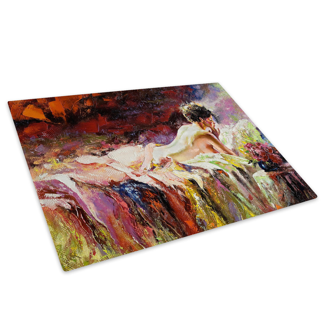 Colourful Vintage Woman Glass Chopping Board Kitchen Worktop Saver Protector - E005-People Chopping Board-WhatsOnYourWall