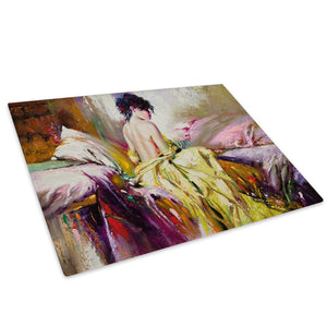 Colourful Vintage Woman Glass Chopping Board Kitchen Worktop Saver Protector - E006-People Chopping Board-WhatsOnYourWall