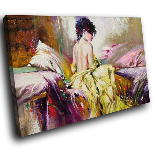E006 Colourful Vintage Retro Woman Modern Canvas Wall Art Large Picture Prints-Canvas Print-WhatsOnYourWall
