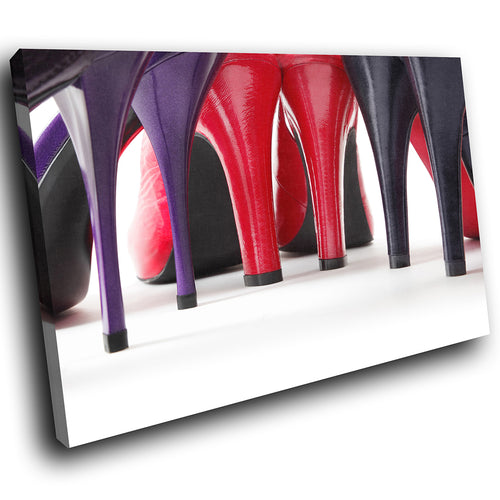 E007 Red Purple White High Heel Shoe Modern Canvas Wall Art Large Picture Prints-Canvas Print-WhatsOnYourWall