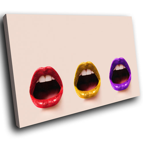 E009 Purple Red Yellow Lips Funky Modern Canvas Wall Art Large Picture Prints-Canvas Print-WhatsOnYourWall