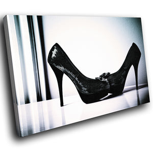 E010 Black White Stiletto High Heel Modern Canvas Wall Art Large Picture Prints-Canvas Print-WhatsOnYourWall