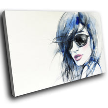 E011 Blue White Black Pink Girl Cool Modern Canvas Wall Art Large Picture Prints-Canvas Print-WhatsOnYourWall