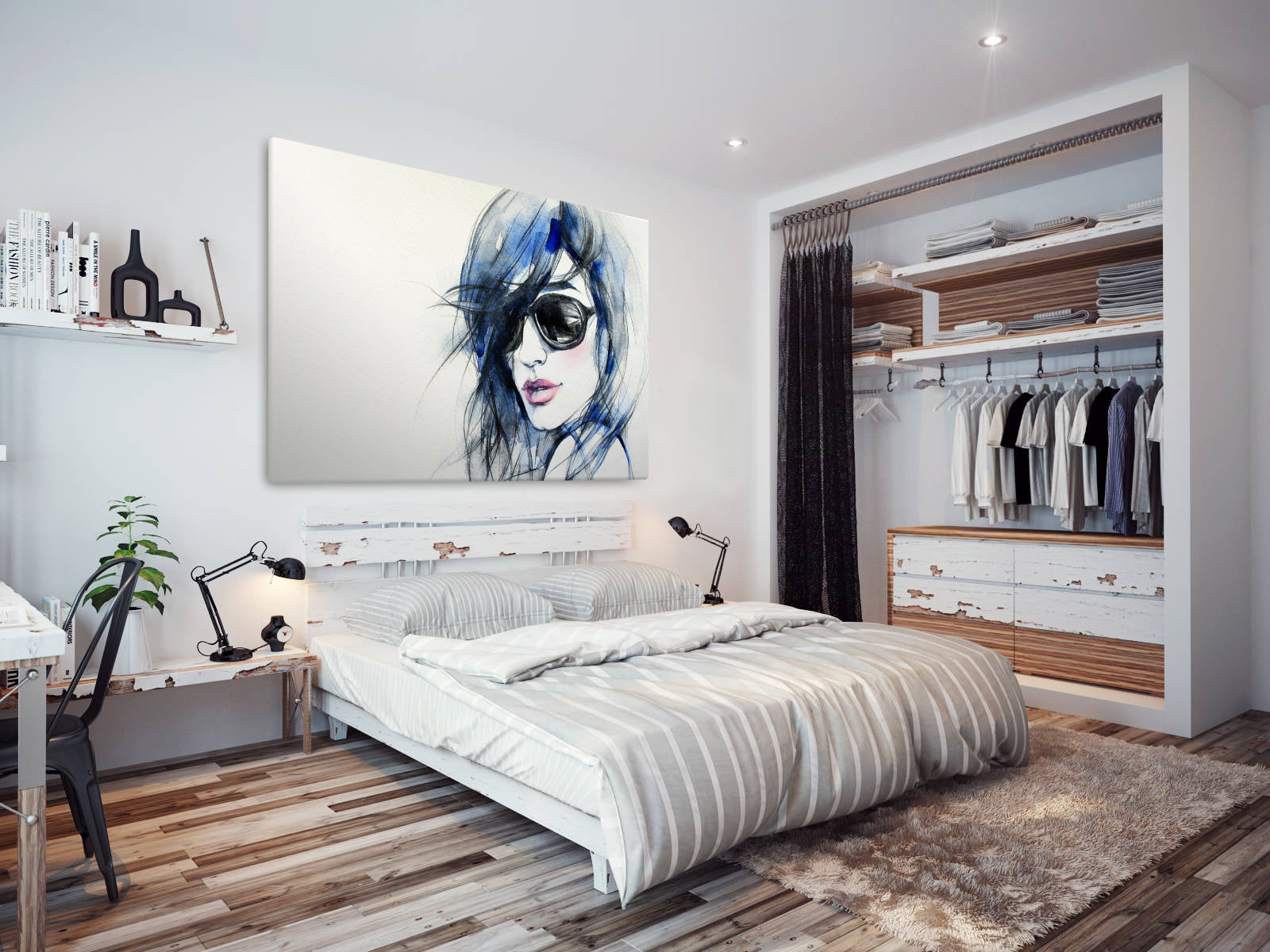 E011 Blue White Black Pink Girl Cool Modern Canvas Wall Art Large Picture  Prints