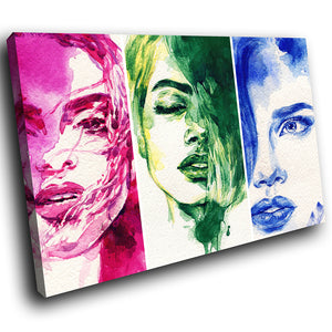 E012 Blue Green Red Abstract Women Modern Canvas Wall Art Large Picture Prints-Canvas Print-WhatsOnYourWall