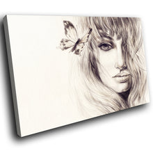E014 Black White Sepia Woman Butterfly Modern Canvas Wall Art Picture Prints-Canvas Print-WhatsOnYourWall