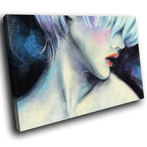 E016 Blue Pink Black Woman Cool Retro Modern Canvas Wall Art Large Picture Print-Canvas Print-WhatsOnYourWall