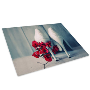 White Stiletto Red Flowers Glass Chopping Board Kitchen Worktop Saver Protector - E017-People Chopping Board-WhatsOnYourWall