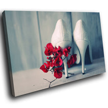 E017 White Stiletto Red Flowers Retro Modern Canvas Wall Art Large Picture Print-Canvas Print-WhatsOnYourWall