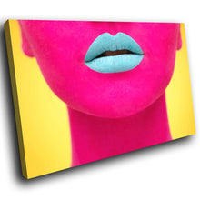 E018 Yellow Pink Woman Blue Lips Modern Canvas Wall Art Large Picture Prints-Canvas Print-WhatsOnYourWall