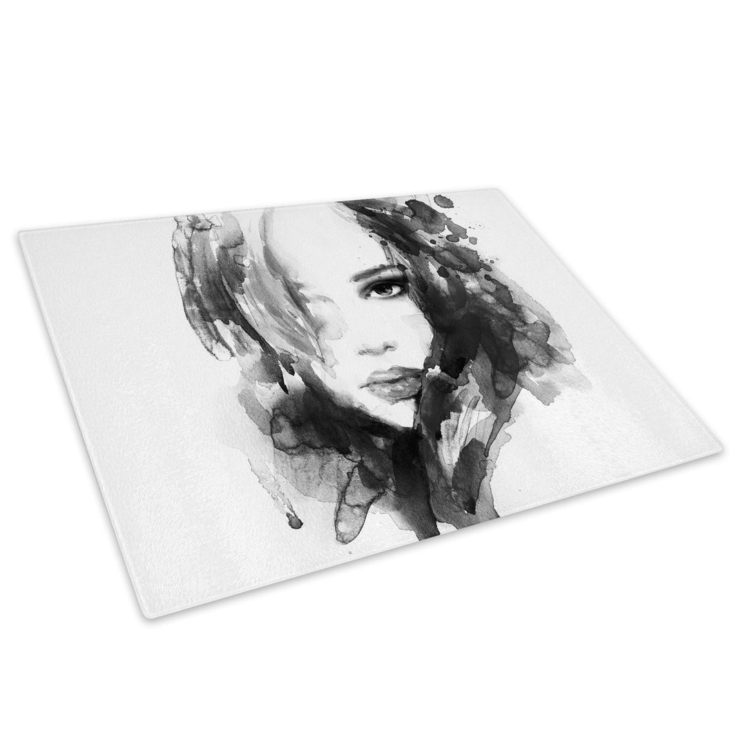 Black White Woman Face Glass Chopping Board Kitchen Worktop Saver Protector - E020-People Chopping Board-WhatsOnYourWall