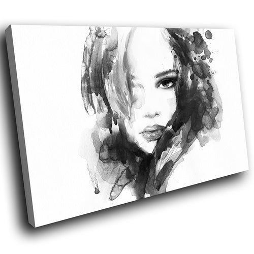 E020 Black White Woman Face Cool Modern Canvas Wall Art Large Picture Prints-Canvas Print-WhatsOnYourWall
