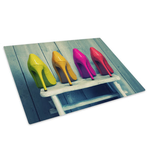 Green Yellow Pink Red Shoe Glass Chopping Board Kitchen Worktop Saver Protector - E021-People Chopping Board-WhatsOnYourWall
