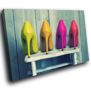 E021 Green Yellow Pink Red High Heel Modern Canvas Wall Art Large Picture Prints-Canvas Print-WhatsOnYourWall