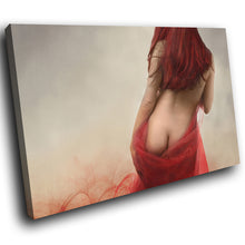 E022 Red Grey Vintage Woman Erotic Modern Canvas Wall Art Large Picture Prints-Canvas Print-WhatsOnYourWall