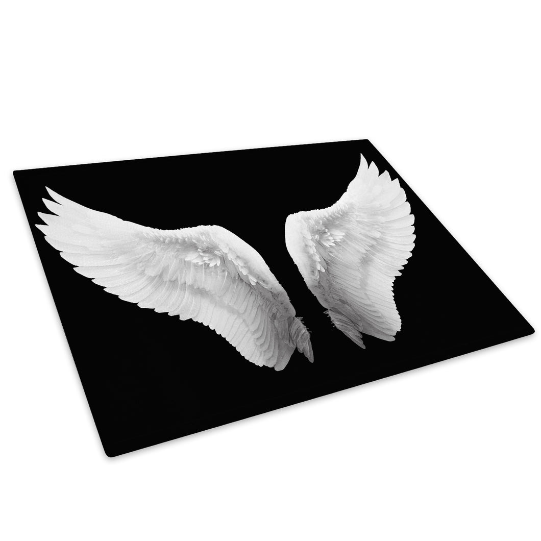 Black White Angel Wings Glass Chopping Board Kitchen Worktop Saver Protector - E023-People Chopping Board-WhatsOnYourWall