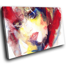E024 Red Blue Yellow White Woman Face Modern Canvas Wall Art Large Picture Print-Canvas Print-WhatsOnYourWall
