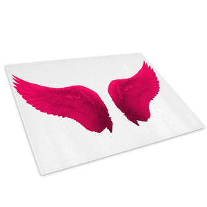 Pink White Angel Wings Glass Chopping Board Kitchen Worktop Saver Protector - E025-People Chopping Board-WhatsOnYourWall
