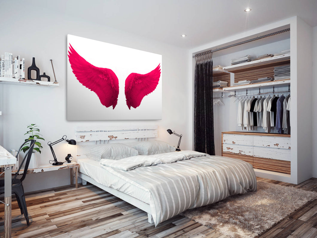 E025 Pink White Angel Wings Retro Modern Canvas Wall Art Large Picture Prints-Canvas Print-WhatsOnYourWall