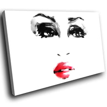 E026 Black White Red Woman Face Retro Modern Canvas Wall Art Large Picture Print-Canvas Print-WhatsOnYourWall