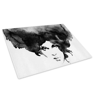 Black White Woman Glass Chopping Board Kitchen Worktop Saver Protector - E028-People Chopping Board-WhatsOnYourWall