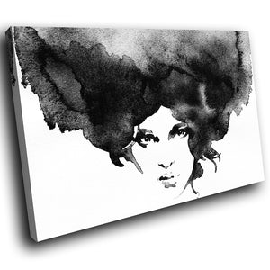 E028 Black White Woman Retro Cool Modern Canvas Wall Art Large Picture Prints-Canvas Print-WhatsOnYourWall