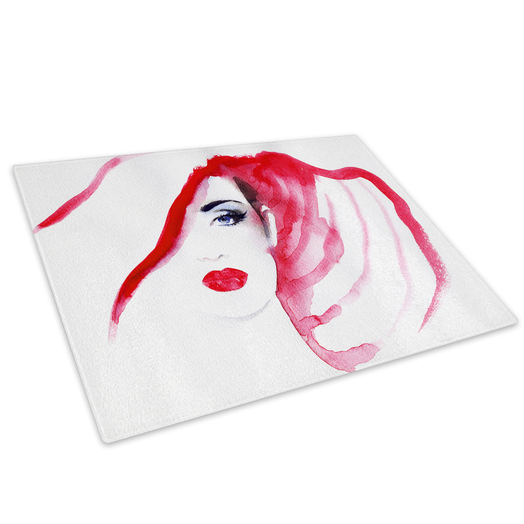 Black White Red Woman Glass Chopping Board Kitchen Worktop Saver Protector - E029-People Chopping Board-WhatsOnYourWall