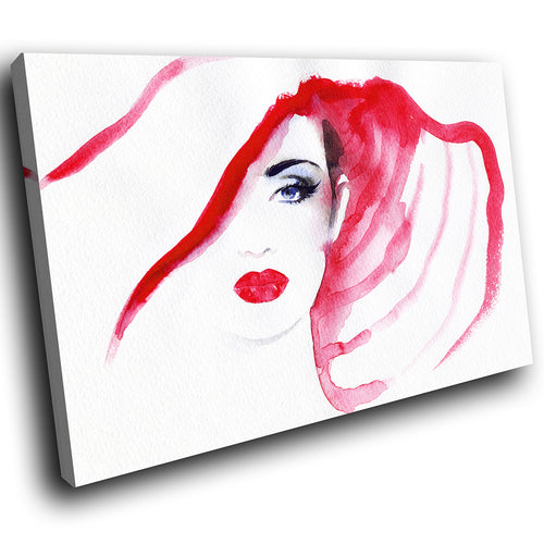 E029 Black White Red Retro Woman Cool Modern Canvas Wall Art Large Picture Print-Canvas Print-WhatsOnYourWall