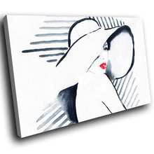 E030 Black White Red Retro Woman Cool Modern Canvas Wall Art Large Picture Print-Canvas Print-WhatsOnYourWall