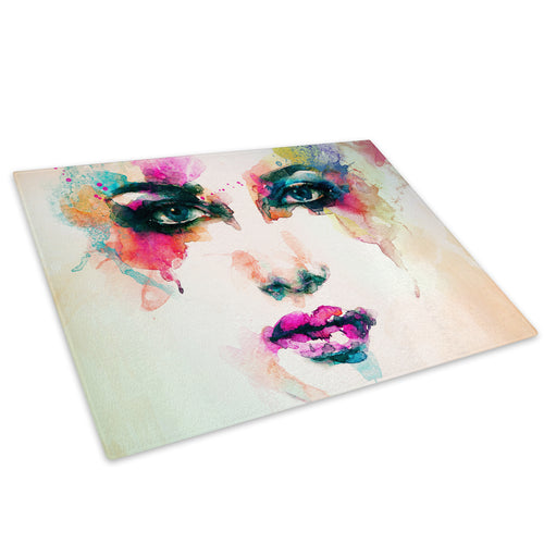 Colourful Woman Face Glass Chopping Board Kitchen Worktop Saver Protector - E032-People Chopping Board-WhatsOnYourWall
