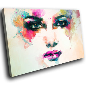 E032 Colourful Retro Woman Face Cool Modern Canvas Wall Art Large Picture Prints-Canvas Print-WhatsOnYourWall
