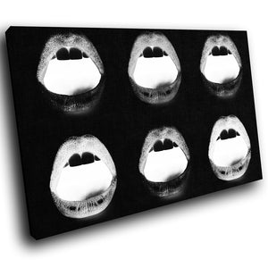 E033 Black White Lips Erotic Kiss Modern Canvas Wall Art Large Picture Prints-Canvas Print-WhatsOnYourWall