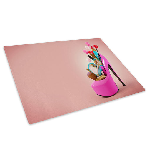 Pink High Heel Makeup Glass Chopping Board Kitchen Worktop Saver Protector - E034-People Chopping Board-WhatsOnYourWall