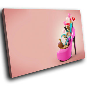 E034 Pink High Hell Makeup Fashion Modern Canvas Wall Art Large Picture Prints-Canvas Print-WhatsOnYourWall