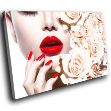 E035 Red Lips White Roses Woman Cool Modern Canvas Wall Art Large Picture Prints-Canvas Print-WhatsOnYourWall