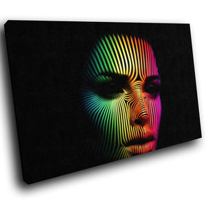 E036 Colourful Neon Woman Face Cool Modern Canvas Wall Art Large Picture Prints-Canvas Print-WhatsOnYourWall