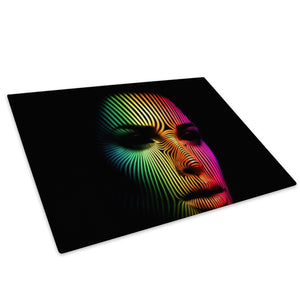 Colourful Neon Woman Face Glass Chopping Board Kitchen Worktop Saver Protector - E036-People Chopping Board-WhatsOnYourWall