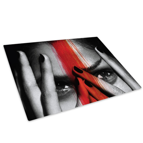 Black White Red Woman Face Glass Chopping Board Kitchen Worktop Saver Protector - E037-People Chopping Board-WhatsOnYourWall