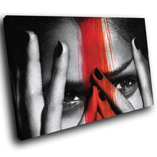 E037 Black White Red Woman Face Cool Modern Canvas Wall Art Large Picture Prints-Canvas Print-WhatsOnYourWall