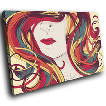 E039 Blue Red Orange Yellow Woman Modern Canvas Wall Art Large Picture Prints-Canvas Print-WhatsOnYourWall