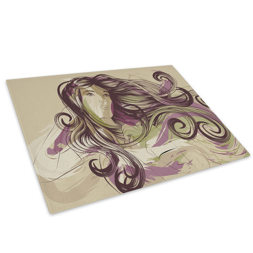 Purple Green Abstract Woman Glass Chopping Board Kitchen Worktop Saver Protector - E040-People Chopping Board-WhatsOnYourWall