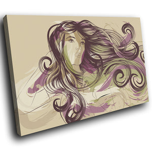 E040 Purple Green Abstract Woman Modern Canvas Wall Art Large Picture Prints-Canvas Print-WhatsOnYourWall