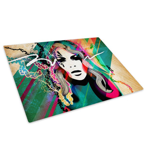 Colourful Neon Woman Face Glass Chopping Board Kitchen Worktop Saver Protector - E042-People Chopping Board-WhatsOnYourWall