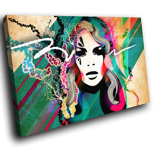 E042 Colourful Neon Woman Face Cool Modern Canvas Wall Art Large Picture Prints-Canvas Print-WhatsOnYourWall