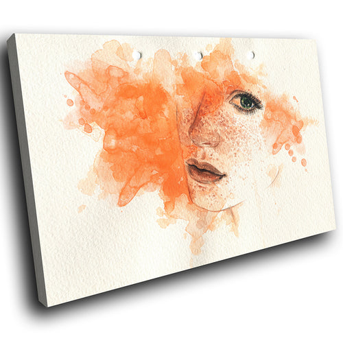 E043 Orange Yellow Woman Face Retro Modern Canvas Wall Art Large Picture Prints-Canvas Print-WhatsOnYourWall