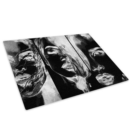 Black White Woman Glass Chopping Board Kitchen Worktop Saver Protector - E044-People Chopping Board-WhatsOnYourWall