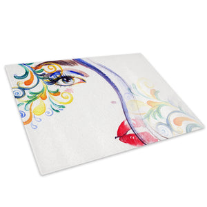 Colourful Woman Floral Glass Chopping Board Kitchen Worktop Saver Protector - E045-People Chopping Board-WhatsOnYourWall