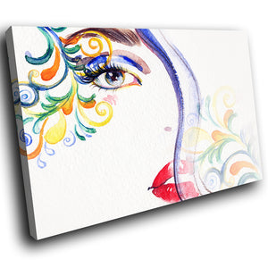 E045 Colourful Woman Floral Cool Modern Canvas Wall Art Large Picture Prints-Canvas Print-WhatsOnYourWall