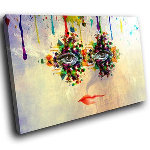 E047 Colourful Retro Woman Funky Modern Canvas Wall Art Large Picture Prints-Canvas Print-WhatsOnYourWall