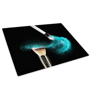 Blue Makeup Brush Fashion Glass Chopping Board Kitchen Worktop Saver Protector - E050-People Chopping Board-WhatsOnYourWall